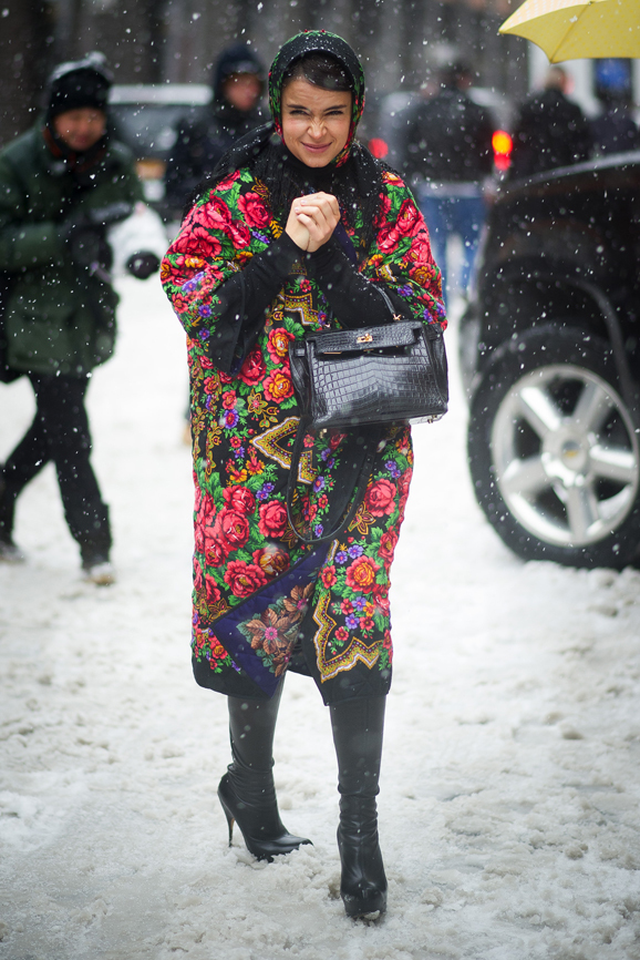 NEW YORK, NY - FEBRUARY 13: Miroslava Duma seen outside the Ralph Lauren show on February 13, 2014 in New York City. (Photo by Timur Emek/Getty Images)